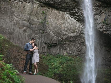 Latourell falls columbia river gorge engagement photos.